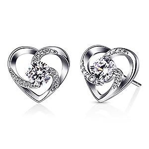 """B.Catcher Herz Ohrringe Damen 925 Sterling Silber Ohrschmuck """"Liebe ist Das Glück"""" Schmuck Zirkonia Geschenk für Damen"""