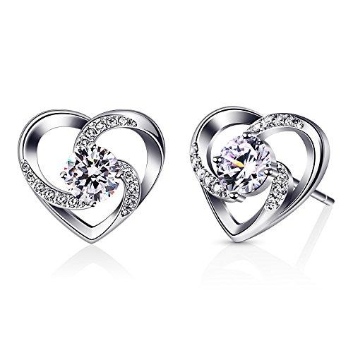 B.Catcher Herz Ohrringe Damen 925 Sterling Silber Ohrschmuck \'\'Liebe ist Das Glück\'\' Schmuck Zirkonia Geschenk für Damen