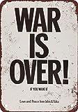 """1971John Lennon & Yoko Ono War Is Over lata Metal Sign Retro con texto en inglés placa metálica para la pared con texto en inglés Póster de placa de aluminio 8""""x 12"""""""