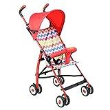 Carrozzina ERRU- Trolley per bambini di estate/ultra-light trolley per bambini pieghevoli portatili(colori opzionali) Veicolo fuoristrada leggero con tenda da sole (Colore : Rosso)