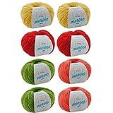 Wollset Mischwolle * Wollmix Mango XL * 8 Knäuel Merino Garn Merino Mix (50g/125m) – weiche Wolle - Mischwolle zum Stricken – Merino Wolle Häkeln – Wolle Set – Wollpaket - Wollpackung MyOma