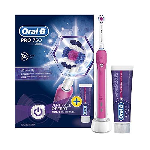 White Zahnbürste (Braun Oral-B PRO 750 Elektrische Zahnbürste 3D-White mit Zahnpasta)