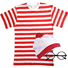 Mens Ladies Red & White Striped Tshirt Hat & Glasses Fancy Dress