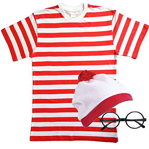 Kostüm Wheres Wally (Kinder, die Rot & Weiß Gestreift Fancy Kleid 3-teiliges)
