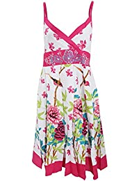 Universal Textiles Womens/Ladies Bird and Flower Pattern Strappy Crossover Summer Dress
