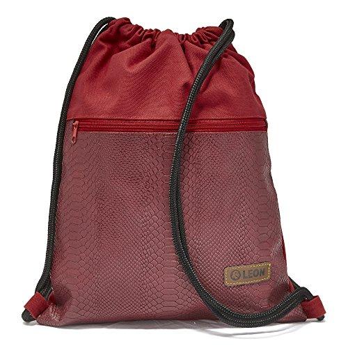 By-Bers LEON Tasche kork-beschichteter bzw. Schlangenhautdesign Turnbeutel Rucksack Sportbeutel Gym Bag Gymsack Hipster Fashion Kork Design (Schlange_Rot) - Hipster-designs