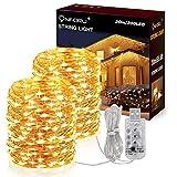 Onforu 20M LED Catena Luce, IP67 Impermeabile Ghirlande, 8 Modalità con USB Timer Striscia Luminosa,...