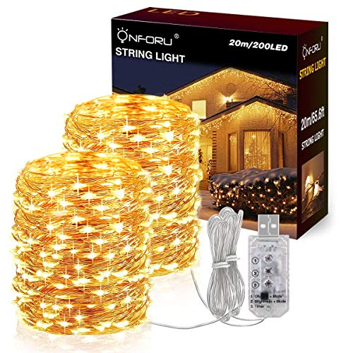 Onforu 20M LED Luz de Cadena, Guirnaldas Impermeable IP65, 8 Modos con...