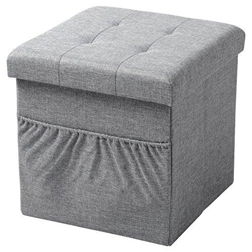 Woltu sh12hgr-1 sgabello sedia a cubo pouf pieghevole cassapanca poggiapiedi contenitore con tasca mdf stoffa lino grigio chiaro