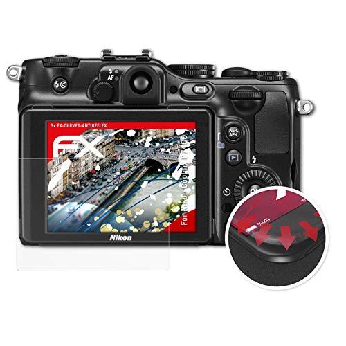 atFoliX Schutzfolie passend für Nikon Coolpix P7100 Folie, entspiegelnde und Flexible FX Displayschutzfolie (3X)