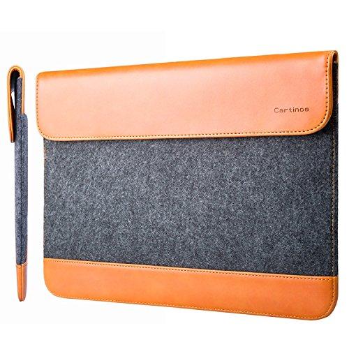 a2721d6bf6e1 Cartinoe 12 Inch Wool Felt & PU Leather Laptop Sleeve Bag Notebook Bag  Envelope