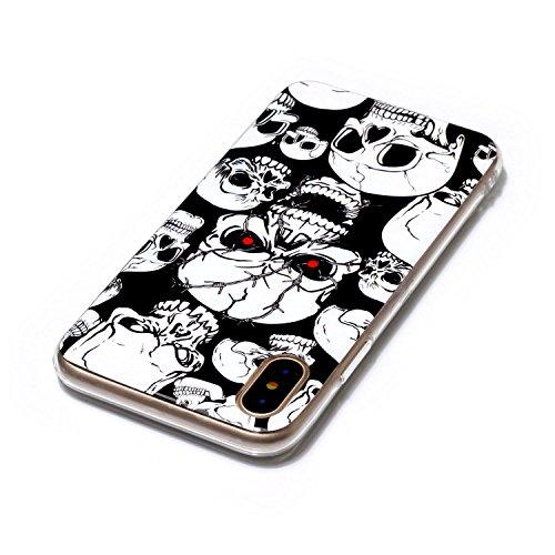 Cover iPhone X, Custodia iPhone 10, CaseLover Nottilucenti Luminoso TPU Silicone Custodia per iPhone X / iPhone 10 Ultra Sottile Fluorescente Flessibile Gel Protettiva Copertura LED Lampeggiante Morbi Cranio