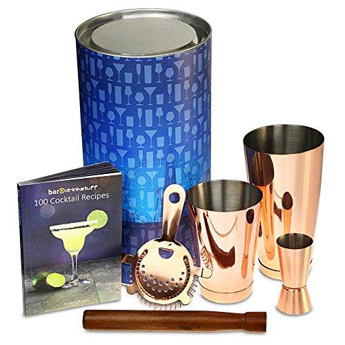 Kupfer auf Tin Cocktail Shaker Set mit Kupfer Boston Zinn und Toby Dose, Jigger, Sieb, Bar Löffel, Stößel, klassisches Rezept Buch in Geschenkröhre -