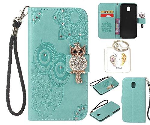 für Samsung Galaxy J3 2017 / J330 5.0'' PU Diamant Strass Niedlich Eule Leder Silikon Schutzhülle Handy case Book Style Portemonnaie Design für Samsung Galaxy J3 2017 / J330 5.0'' + Schlüsselanhänger (8IK) (5)