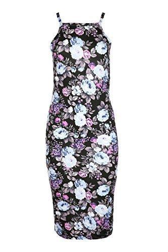 Oops Outlet Damen Träger Hemdchen Hoch Eckiger Ausschnitt Fit Bodycon Minikleid Größe Uk 8-14 Schwarz Lila Blumen
