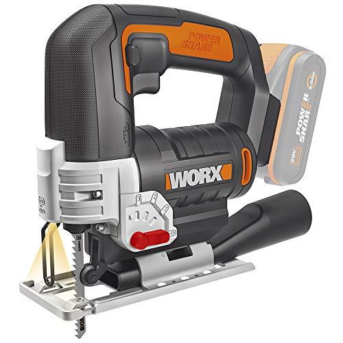 Worx WX543.9 Akku-Pendelhub-Stichsäge, Profi Stichsäge mit Absaug-Adapter, Ideal auch für Gehrungsschnitte, PowerShare kompatibel, Wird ohne Akku und Ladegerät geliefert