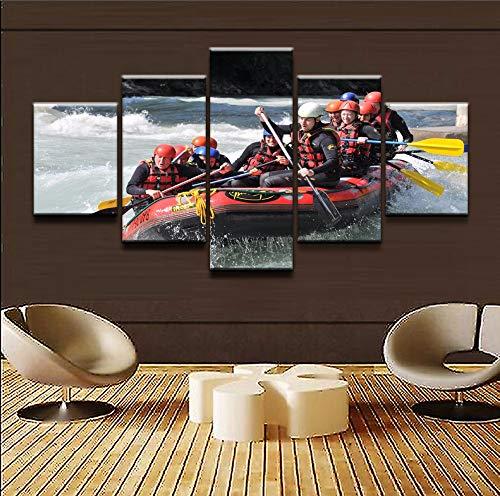MXLYR 5 Leinwanddrucke Mit Rahmen Wandkunst Leinwandbilder Für Wohnzimmer Hd Drucke Poster Sport Wildwasser Rafting Gemälde Wohnkultur -