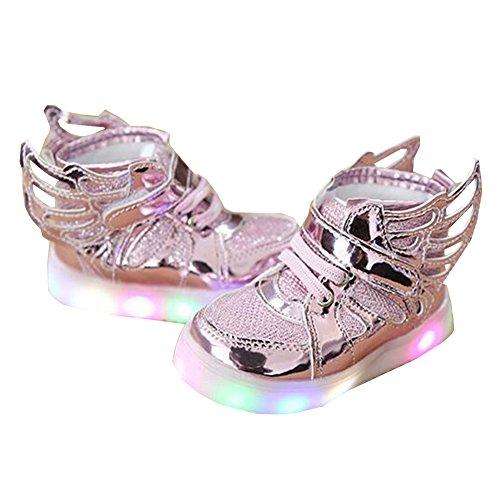 Sunching Kleinkind Jungen Mädchen LED Turnschuhe leuchten Schuhe mit Engels Flügeln Rosa