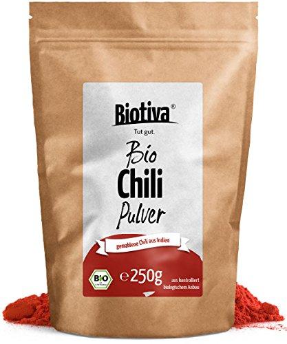 Chili BIO gemahlen - Cayennepfeffer 250g I fein gemahlenes Pulver (Cayenne, Capsicum cayennense) I feurig scharfes Chilipulver I Top Bio-Qualität I Abgefüllt und kontrolliert in Deutschland (DE-ÖKO-005)