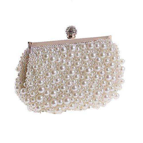 Art Und Weise Handgemachte Perlenfertigkeit Abend Partei Bankett Handtasche White