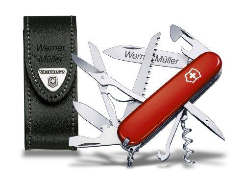 Preisvergleich Produktbild Victorinox Huntsman Taschenmesser Set, inkl. Lederetui und Wunschgravur