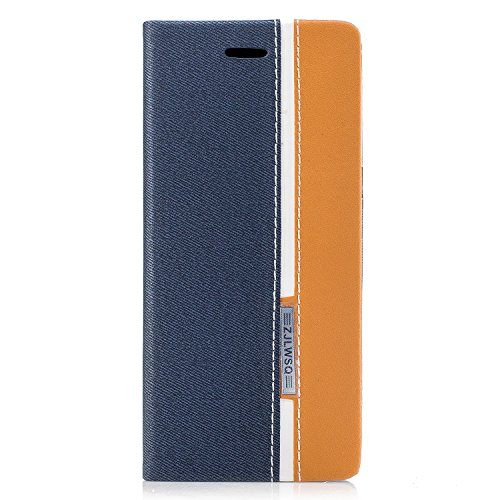Para Samsung Galaxy S8 funda, (Two-tone style)Estilo simple efecto de cuero de cuero de la PU Leather cubierta ,Función de soporte para teléfono de soporte,Billetera con ranura para tarjetas - Azul oscuro - naranja