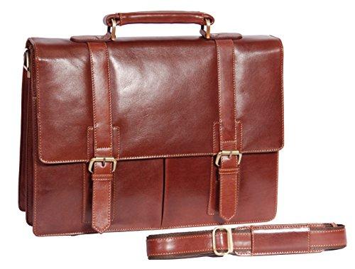Herren Braun Leder Aktentasche Geschäft Arbeit Büro Schulter Messenger Tashe Schulranzen HLG546 (Bag Klappe Über Attache)