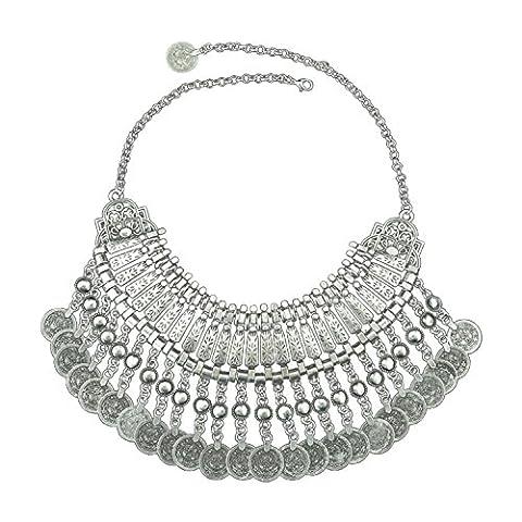 Pinzhi Böhmische Zigeuner-ethnische antike silberne Münzen-Troddel-Kragen-Aussage-Frauen-Halskette