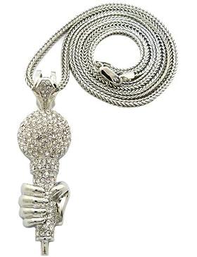 NEU Silber Anschein Bedeckt Mikrofon in Hand Anhänger mit 4mm 91cm Franco Halskette