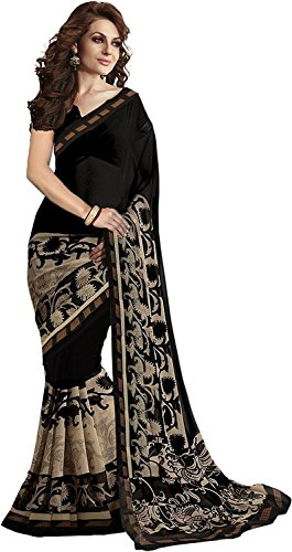 Shreeji Ethnic Women's Georgette Printed saree With Blouse Piece