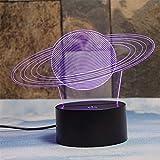 Deerbird® Anelli di saturno Illusione 3D 7 Cambiamento Di colore lampada da tavolo Luce notturna a LED Grandi regali Per i ragazzi