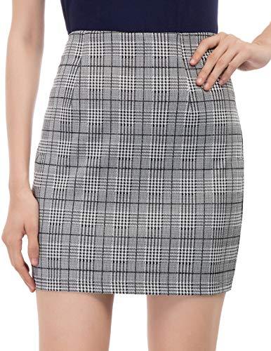 Damen Kariertes Muster Elastische Taille Hüften Miniröcke Farbe-1 (1168) XX-Large - Taille Hüften
