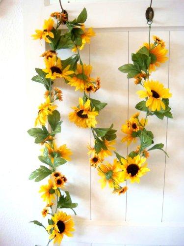 Sonnenblumengirlande Sonnenblume Blume Blättergirlande Tischdeko Girlande künstlich Fensterdeko Dekogirlande Deko 63 Blüten 180cm