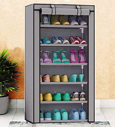 Tinnitus 6 Layer Multipurpose Portable Folding Shoe Rack/Shoe Shelf/Shoe Cabinet with Wardrobe Cover, Easy Installation Stand for Shoes(ShoesRack 6Layer in Grey Color)(Shoe Racks for Home)(Grey)