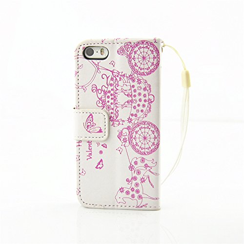 iPhone Case Cover IPhone 5S SE 5 Case, Résine strass Embossed Flower papillon motif Case Folio Stand Case PU Leather Case avec slot Cash Card et Photo Window Hand Strap Stand Case pour IPhone 5S SE (  White