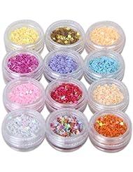 12pcs Multicolore Strass Glitter Paillette Etoile Pour Ongle Nail Art Manucure Star