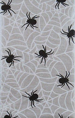 Halloween Spinnen auf Ihre Bahnen Vinyl Tischdecke Flanell Rückseite, Vinyl, Silberfarben / Weiß / Schwarz, 60 Inches Round