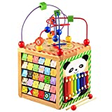Lewo Wooden Activity Cube Bead Maze Learning Educational Toys Activity Center for Toddlers