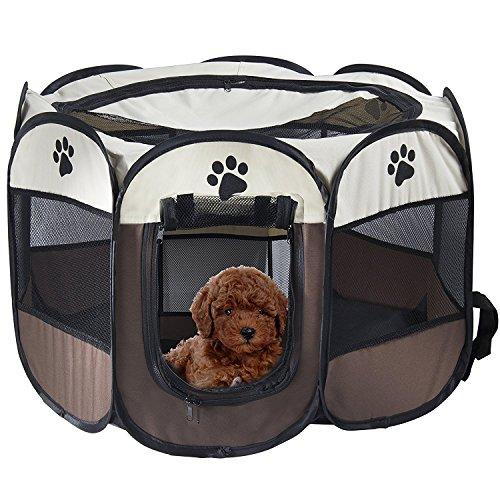 REAYOU Pet Laufstall Hund Welpen Laufstall mit 8-Panel Faltbarer Haustier-Hundezelt-achteckiger Haustier-Katzen-Zaun-Hundeförderer-Käfig für Innenaußenreise-Haus (M)