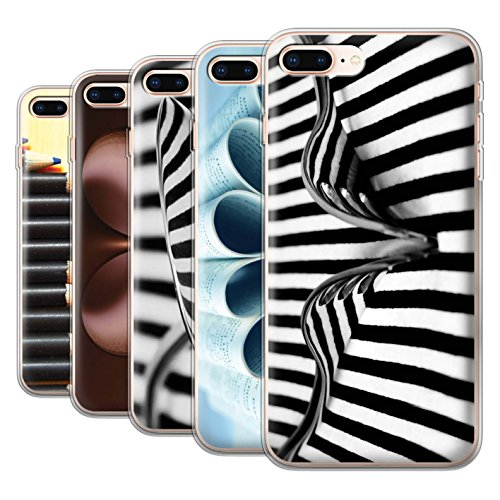 Stuff4 Gel TPU Hülle / Case für Apple iPhone 8 Plus / Löffel/Streifen Muster / Abstrakte Kunst Kollektion Pack 5pcs