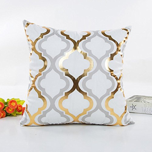 Indexp Gold Velvet Bronzing Stripes Printed Waist Throw Cushion Cover Sofa Home Decoration Pillow Case (Style C)
