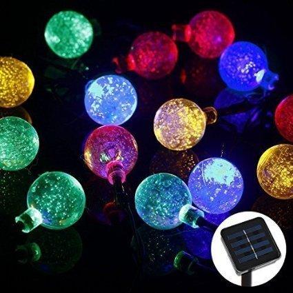 La secuencia solar luces LED 8Mode 30 Bolas 6M con Multi-Color de lujo Bulbles para la Navidad, Patio, césped, cercas, exterior, Decoración perfecta para el hogar, al aire libre, árbol de Navidad, un centro comercial, de vacaciones y celebración del festival (6M-30Bubble-RGB)