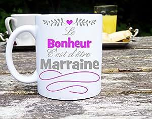 Mug le bonheur c'est d'être marraine, idée cadeau mug personnalisé, cadeau marraine
