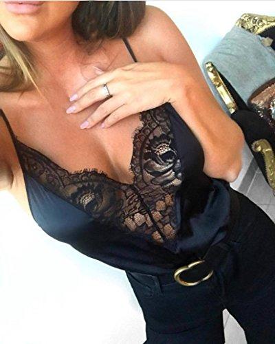 moonuy_ blouse Moonuy Gilet sans Manches Femme Dentelle Deep V Cou Point de Vue des Perspective en Vrac Débardeur Chemisier T-Shirt Noir
