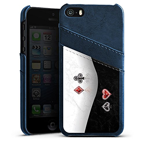 Apple iPhone 5 Housse Étui Silicone Coque Protection Croix Carreau C½ur Étui en cuir bleu marine