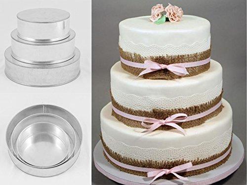 Euro Tins Moule rond pour gâteau de mariage à 3 étages – lot de 3
