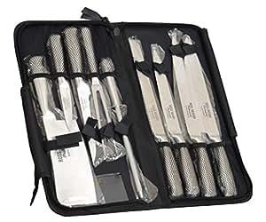Ross Henery Professional, Set di coltelli da chef Eclipse da 9 pezzi in acciaio inox con custodia a cerniera