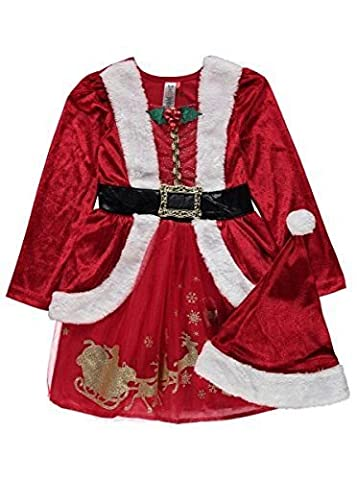 Girls Miss Santa Christmas Fancy Dress Costume Age 7-8 Years, With Hat, Holly and Faux Fur Trim. Made for the George @ Christmas Collection