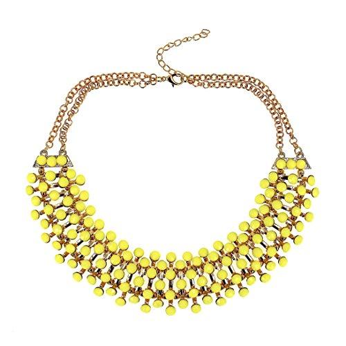 Mode Schmuck Mädchen Kurz Legierung Gelb Perlen Party Halsband Halskette für Frauen
