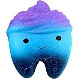 12cm Galaxy Teeth Cake Squeeze toy,Yanhoo Scented Squishy Slow Rising Squeeze Toys Jumbo Collection (Blue, 11.8*6.7*9.3cm)